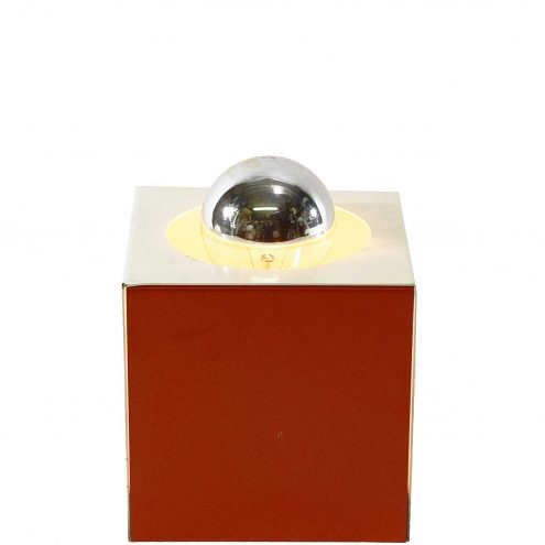 Sixties cube table lamp white orange red metal iron cubic ANVIA Hala Mid-Century Modern MCM 1960s 1970s
