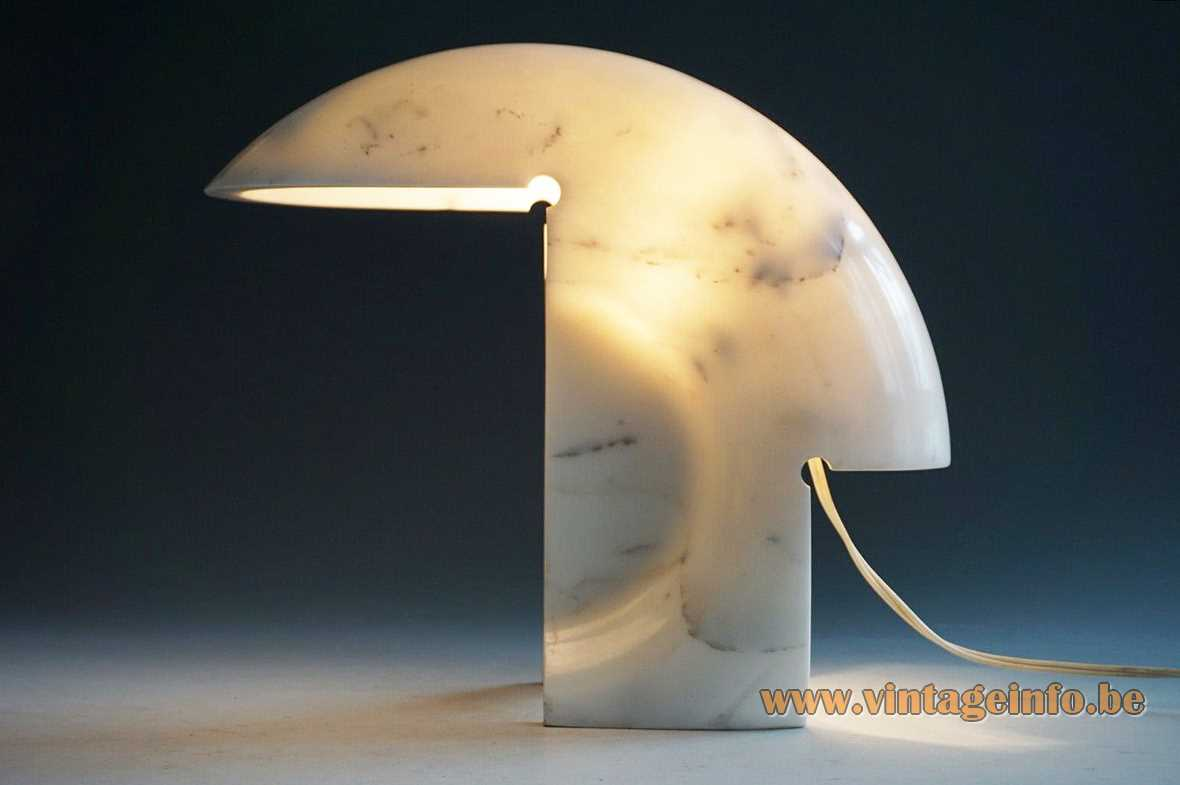 Tobia Scarpa Biagio table lamp 1968 design curved white Carrara marble light 1960s 1970s FLOS Italy