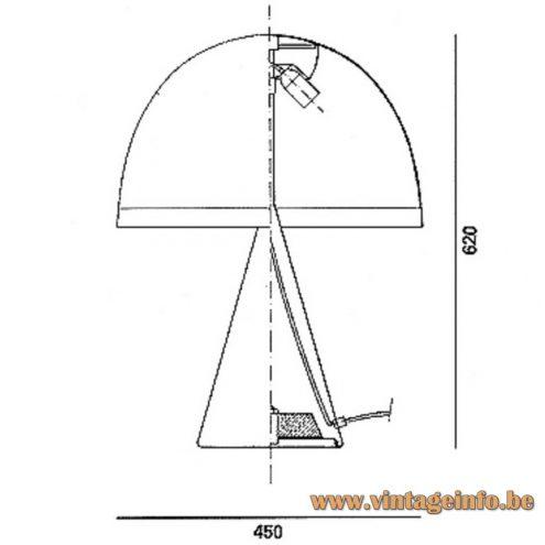 iGuzzini Baobab table lamp - scheme - dimensions