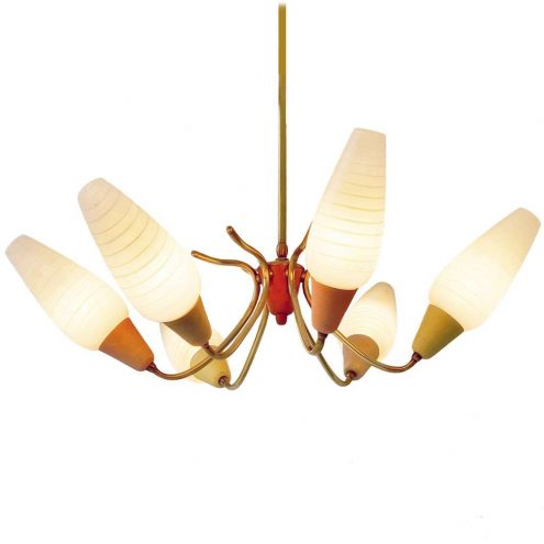 Spider chandelier multi-colour wrinkle paint brass curved rods glass lampshades 6 E14 sockets 1950s 1960 MCM Mid-Century Modern