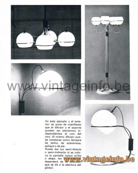 1960s Tramo Globe Wall Lamp - Design Joan Antoni Blanc - Catalogue Picture