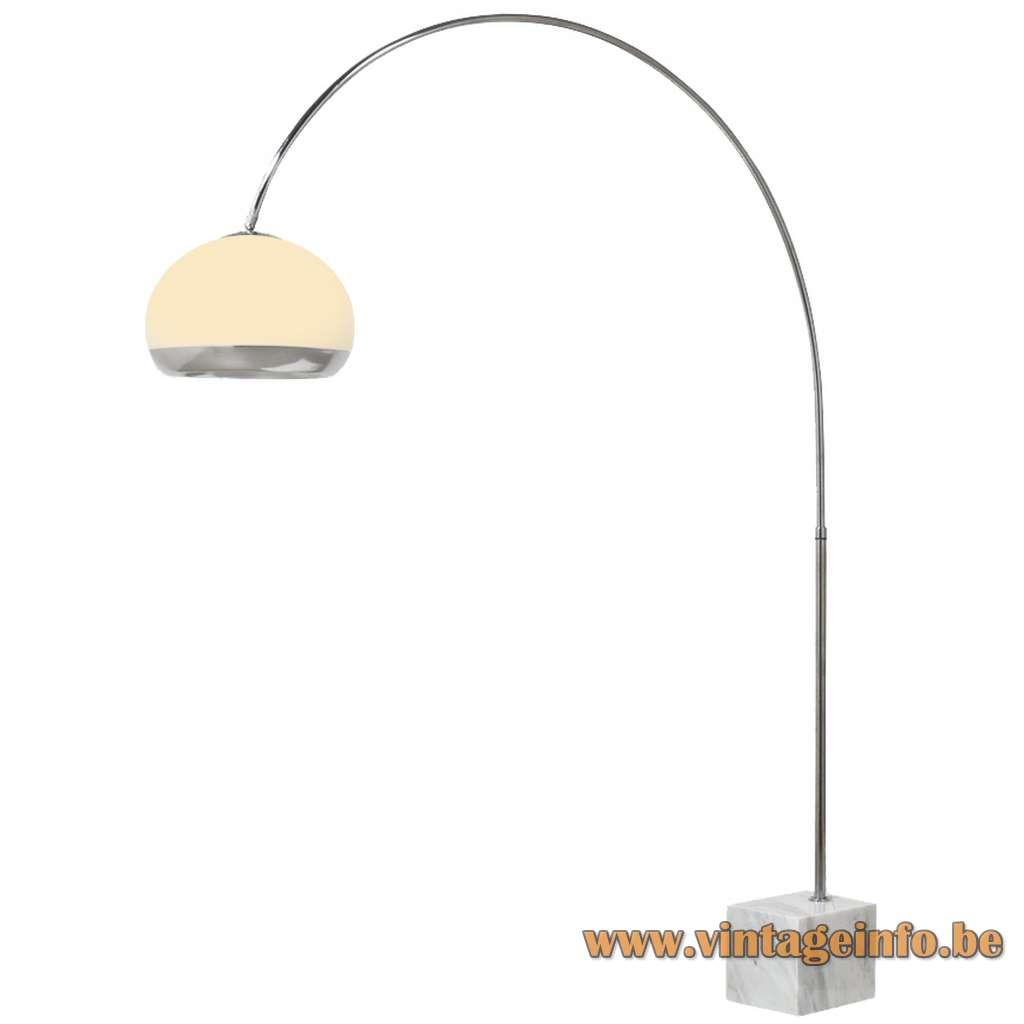 Globe arc floor lamp acrylic Perspex chrome base aluminiun Harvey Guzzini Laurel 1960s 1970s MCM Mid-Century Modern