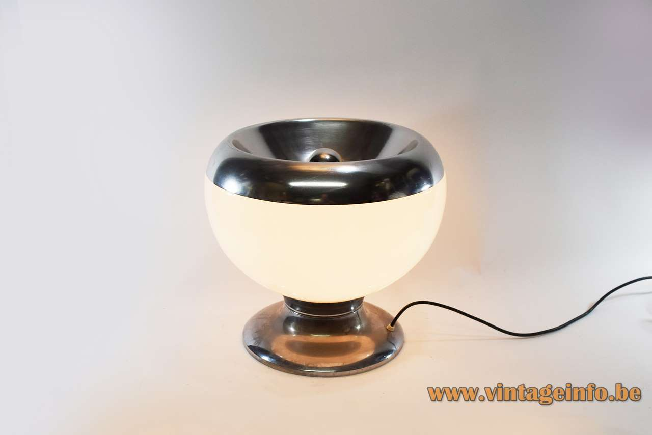 Acrylic globe floor lamp chrome base aluminium ring white Perspex lampshade Harvey Guzzini Laurel 1960s 1970s