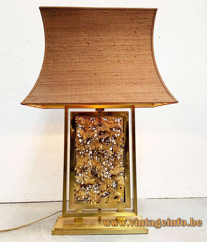 Bas-relief brass table lamp rectangular base low relief flowers birds framework pagoda lampshade 1970s 1980s J.L.B.