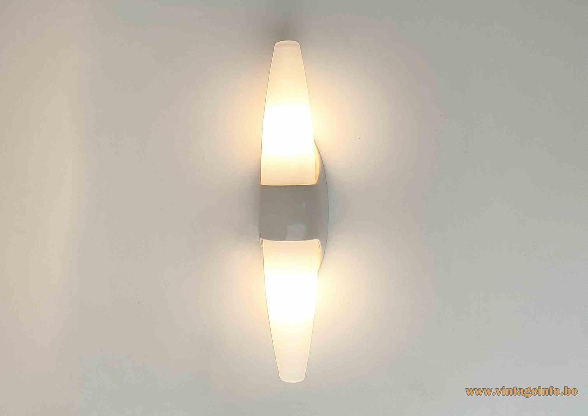 Bo-Niko wall lamp double lampshade white Bakelite mat frosted opal glass Sint Niklaas Belgium 1960s MCM Mid-Century Modern