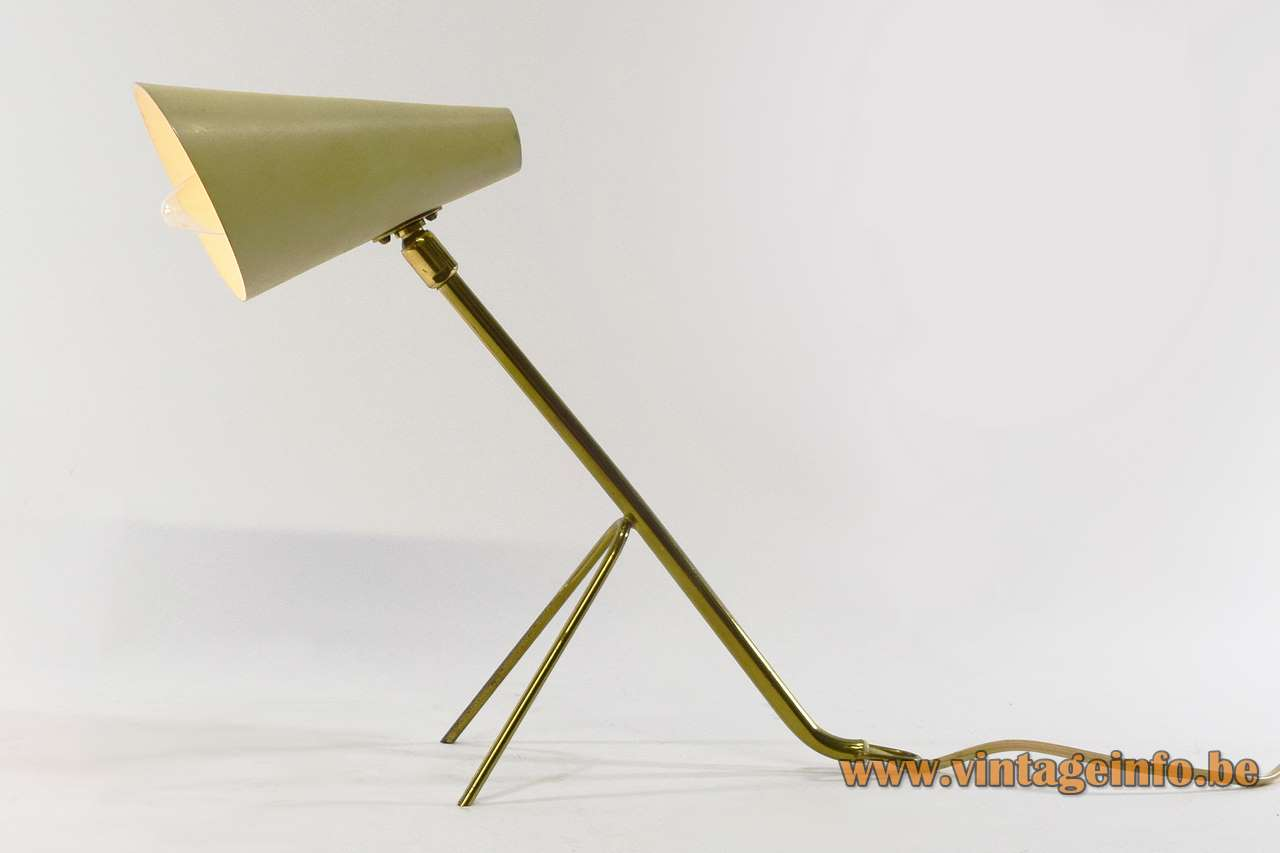 Brass conical table lamp tripod wall lamp brass rods conical lampshade 1950s 1960s MCM Mid-Century Modern