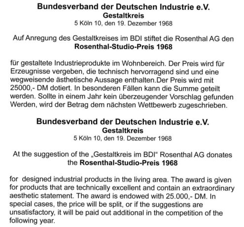 Bundesverband Rosenthal-Studio-Preis 1968