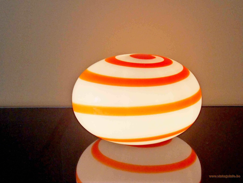 Campino table lamp orange swirl opal glass globe Zeus Cellenstrasse Soltau 2000s Dapo Argentina