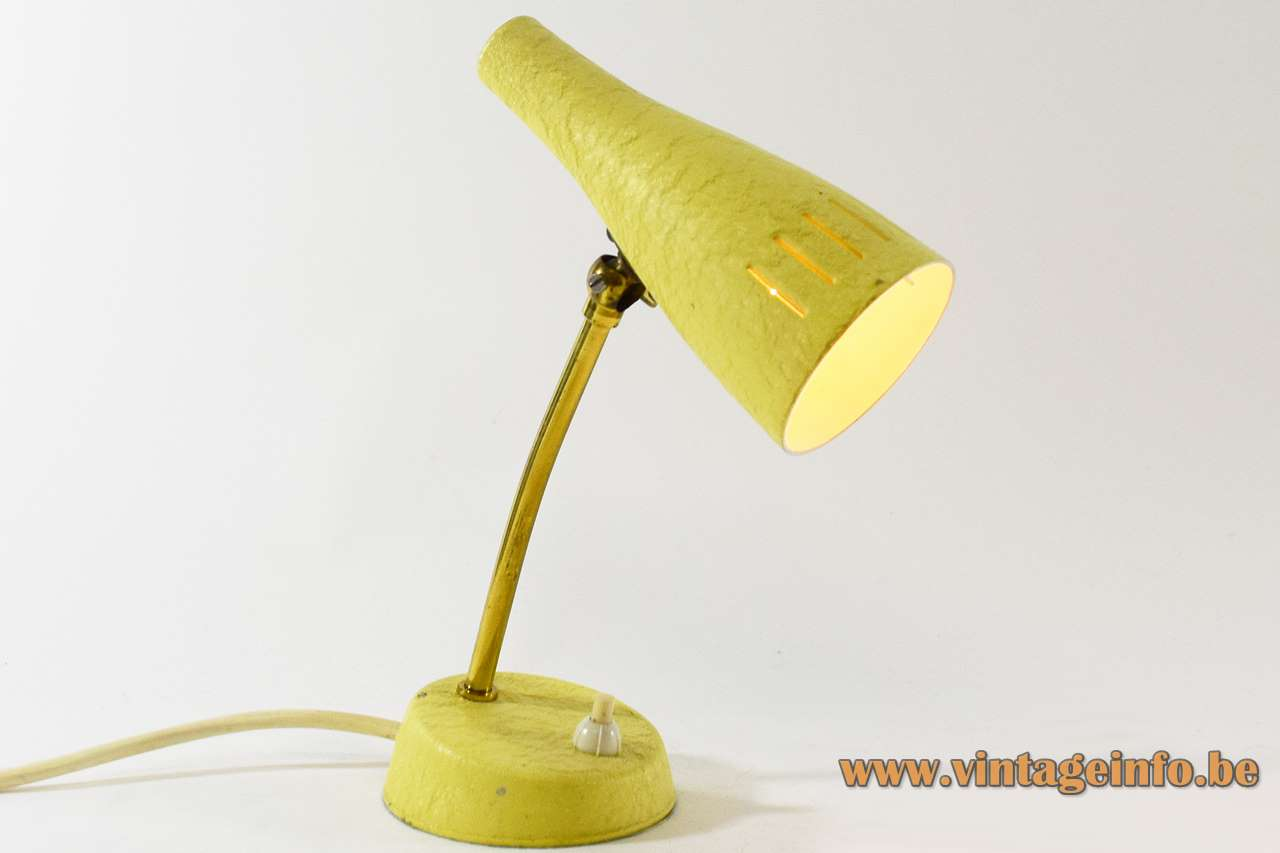 Cosack 1950s bedside table lamp yellow wrinkle-paint round base brass rod conical lampshade 1960s Germany