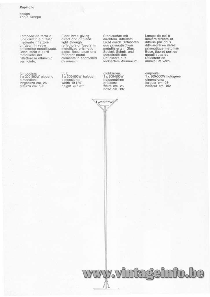 FLOS floor lamp Papillona design: Tobia Scarpa 1975 aluminium geometric long light halogen bulb 1970s MCM Mid-Century Modern