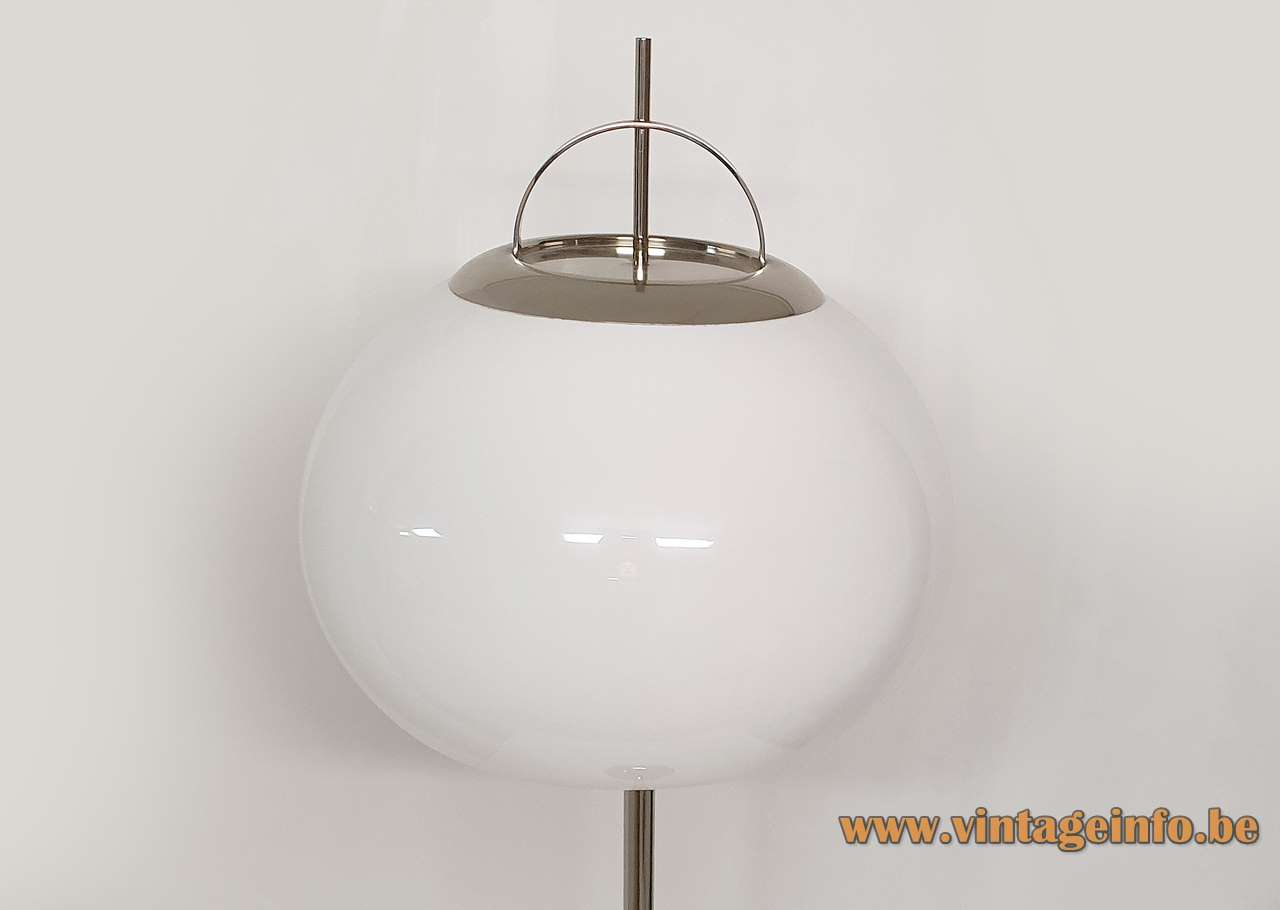 Guzzini Lucerna style floor lamp chrome base & rod acrylic Perspex lampshade 1970s Massive Harvey Guzzini