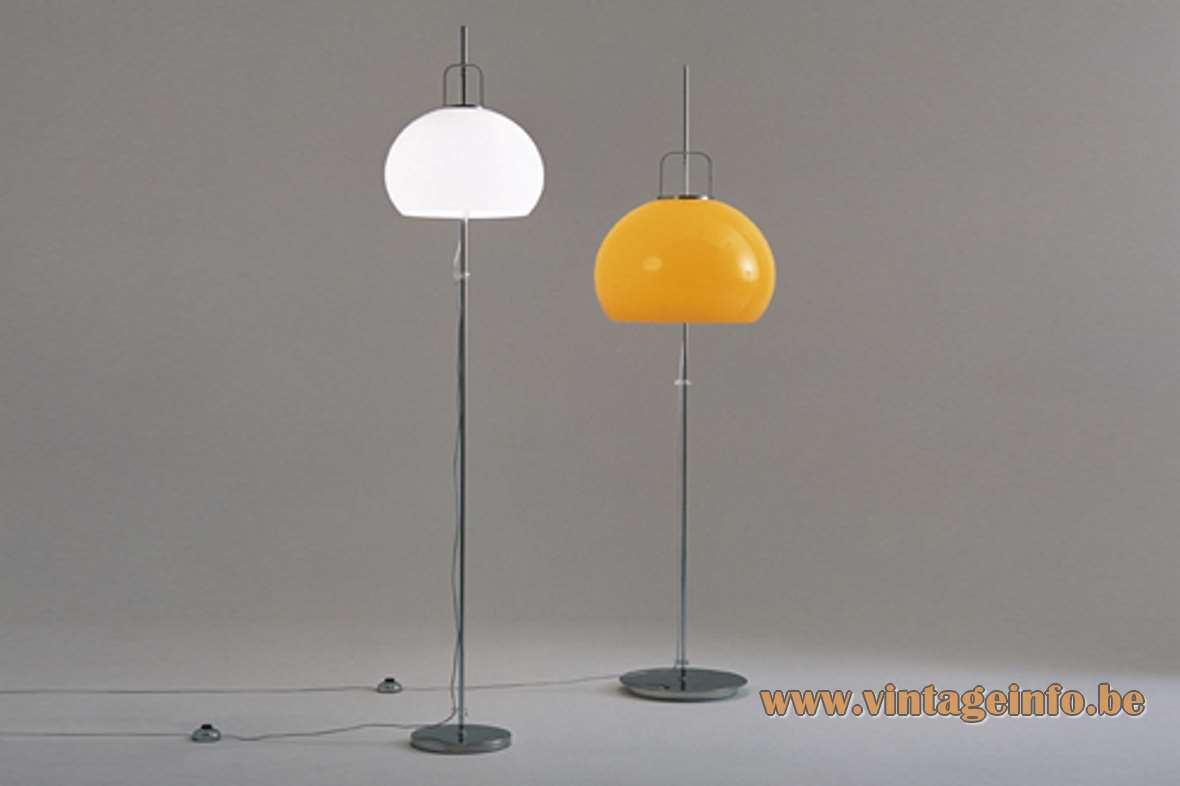 Harvey Guzzini floor lamp Lucerna chrome base & rod acrylic mushroom lampshade 1960s 1970s MCM Mid-Century Modern