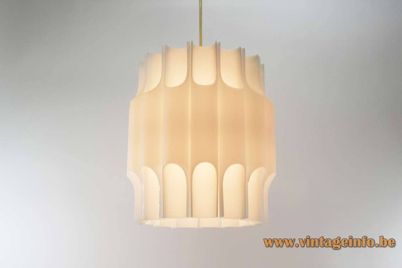 Harvey Guzzini pendant lamp Teulada white acrylic organ pipe tubes E27 socket 1960 1970s MCM Mid-Century Modern
