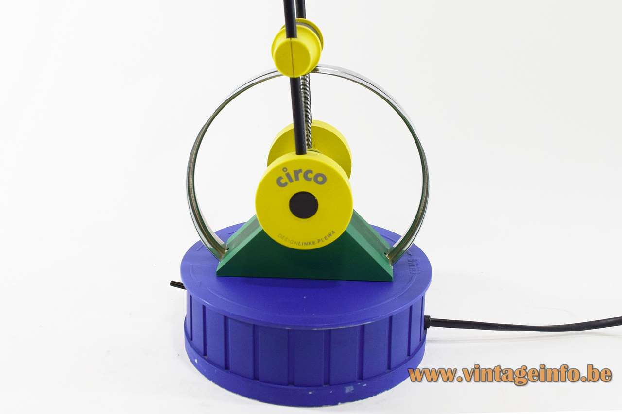 Linke Plewa Circo desk lamp design: Heiko Linke blue & yellow plastic 2 rods 1980s Brilliant Leuchten