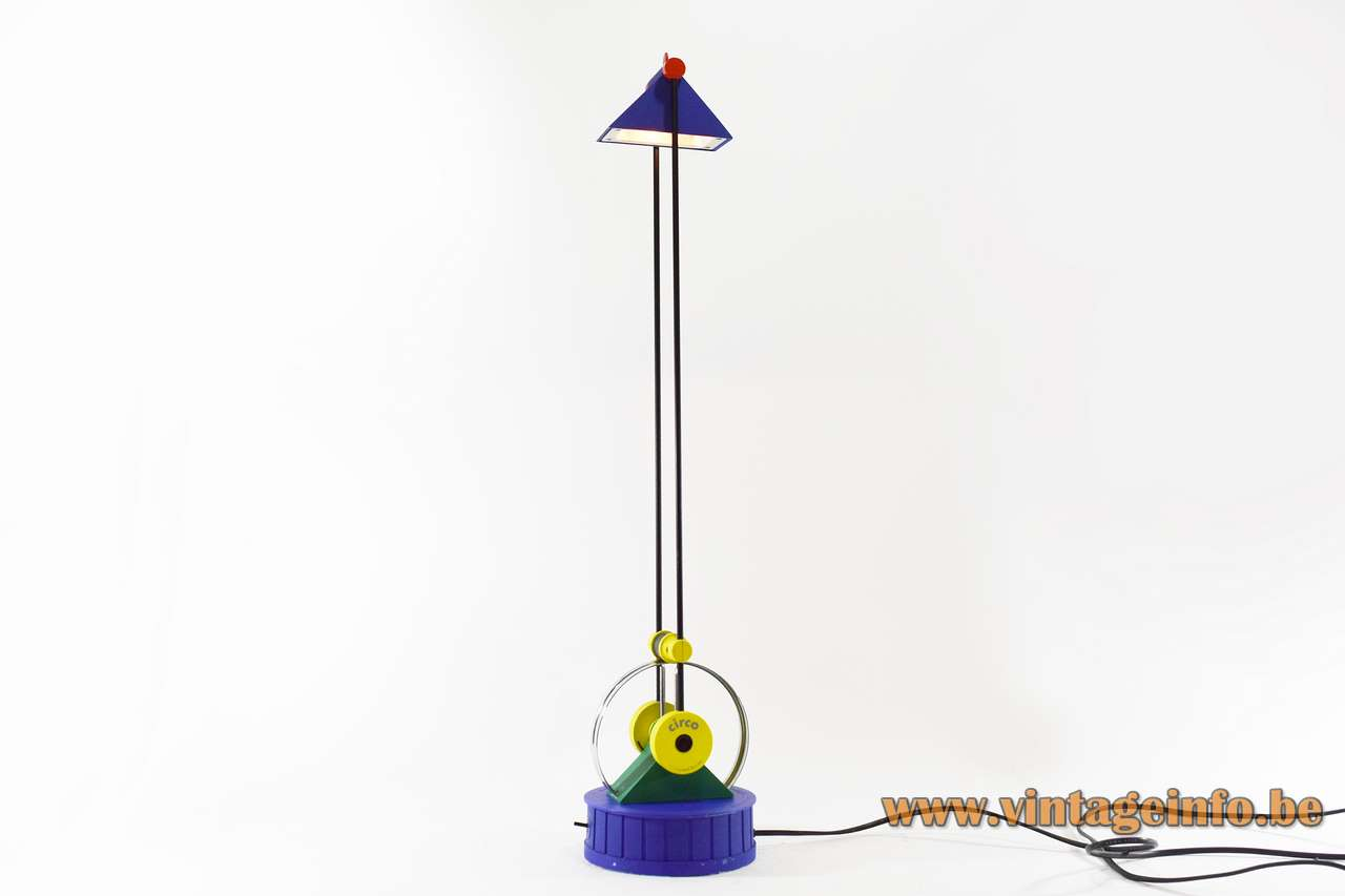 Linke Plewa Circo desk lamp design: Heiko Linke blue & yellow plastic 2 rods 1980s Brilliant Leuchten