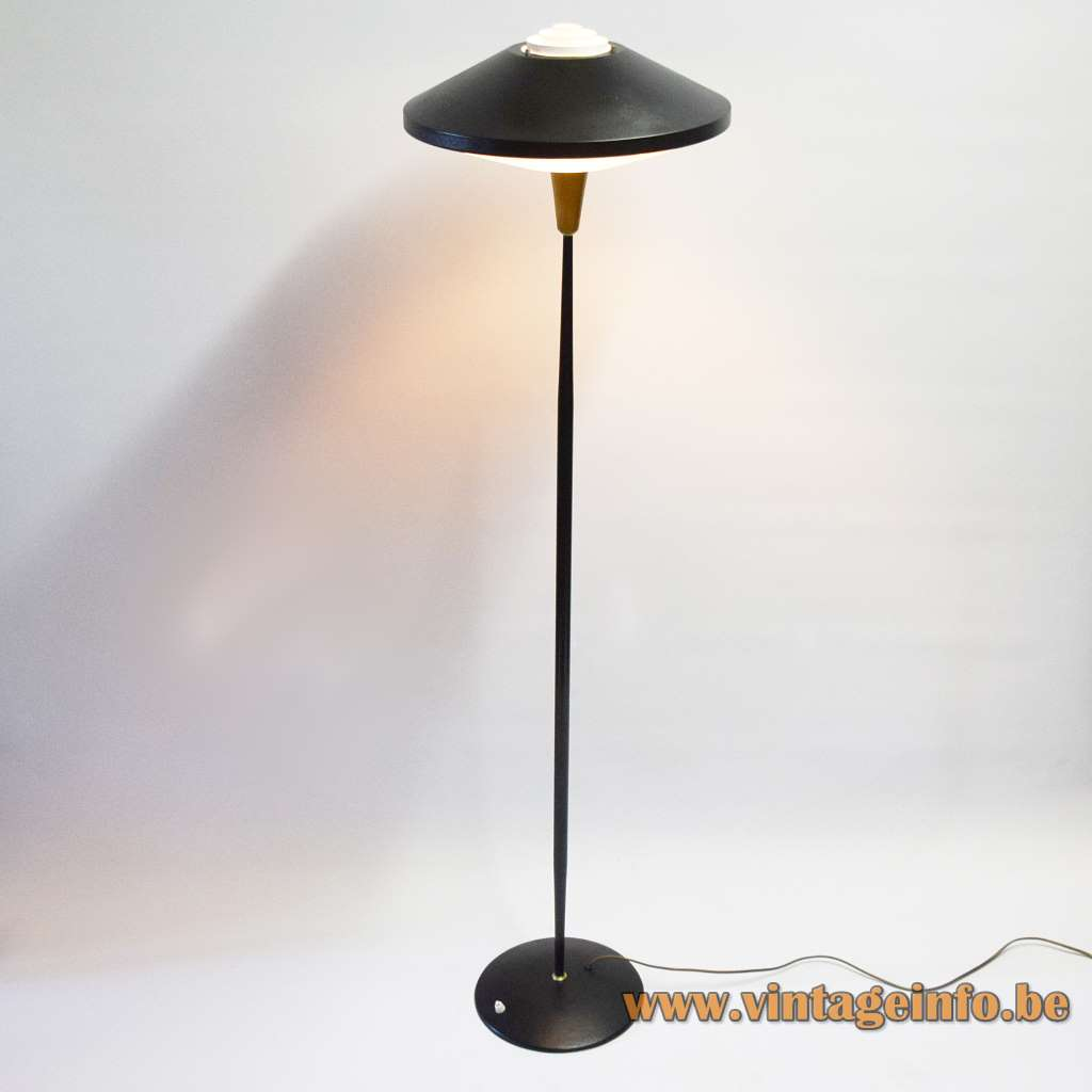 Louis Kalff Floor Lamp NX 546 Philips black version UFO style light 1950s 1960s MCM Mid-Century Modern
