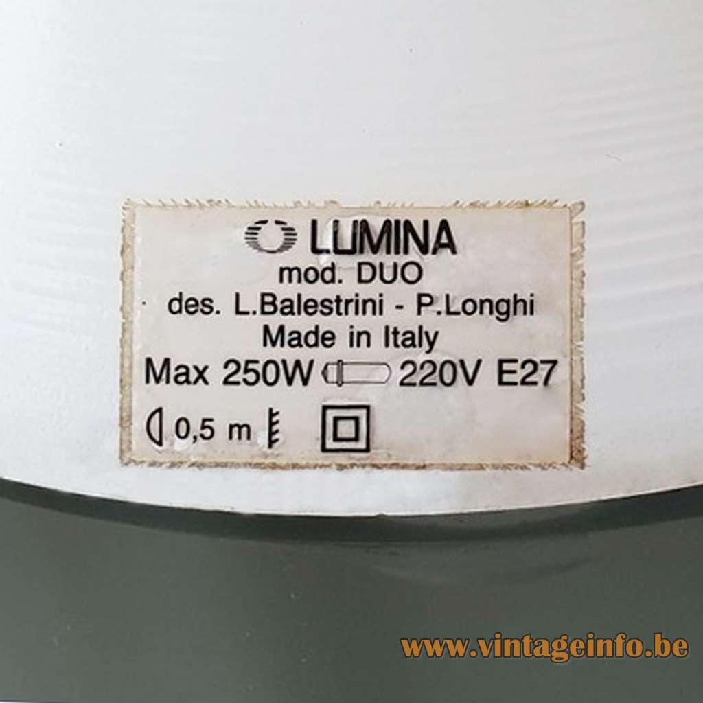 Lumina table lamp Duo design: Luciano Balestrini Paola Longhi metal base opaline diffuser LUMINA Italia 1990s 2000s