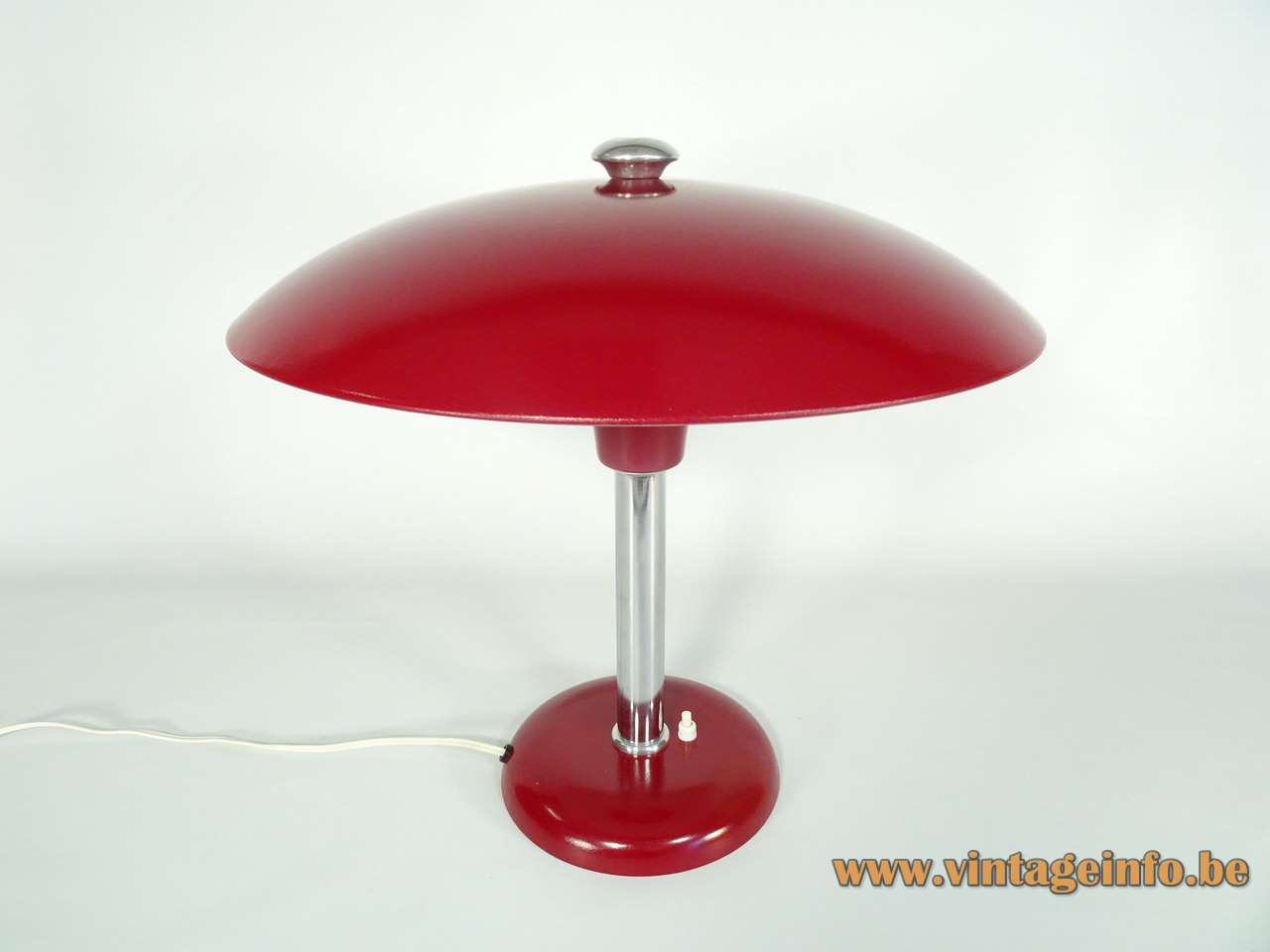 Max Schumacher desk lamp 1934 design red mushroom lampshade Werner Schröder Bauhaus art deco 1930s 1940s