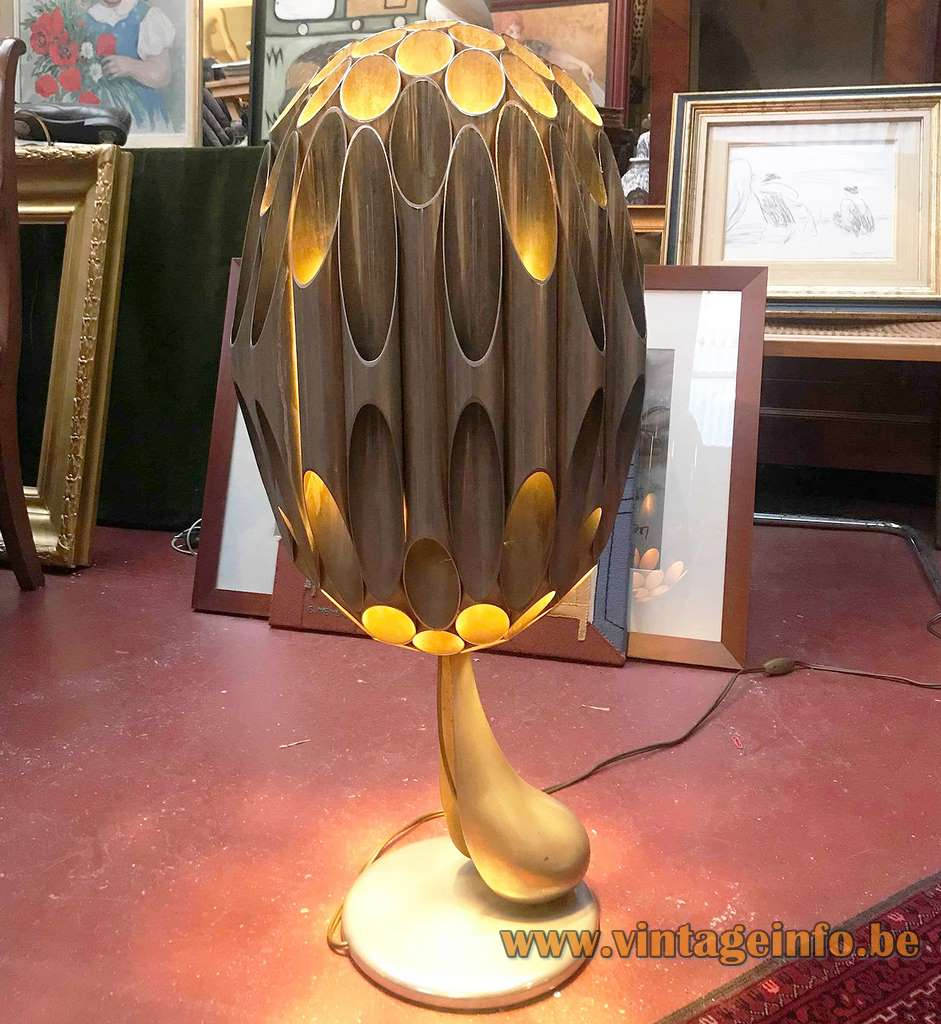Michel Armand Morille table lamp gilded metal mushroom tubes Canada design Maison Charles France E27 sockets