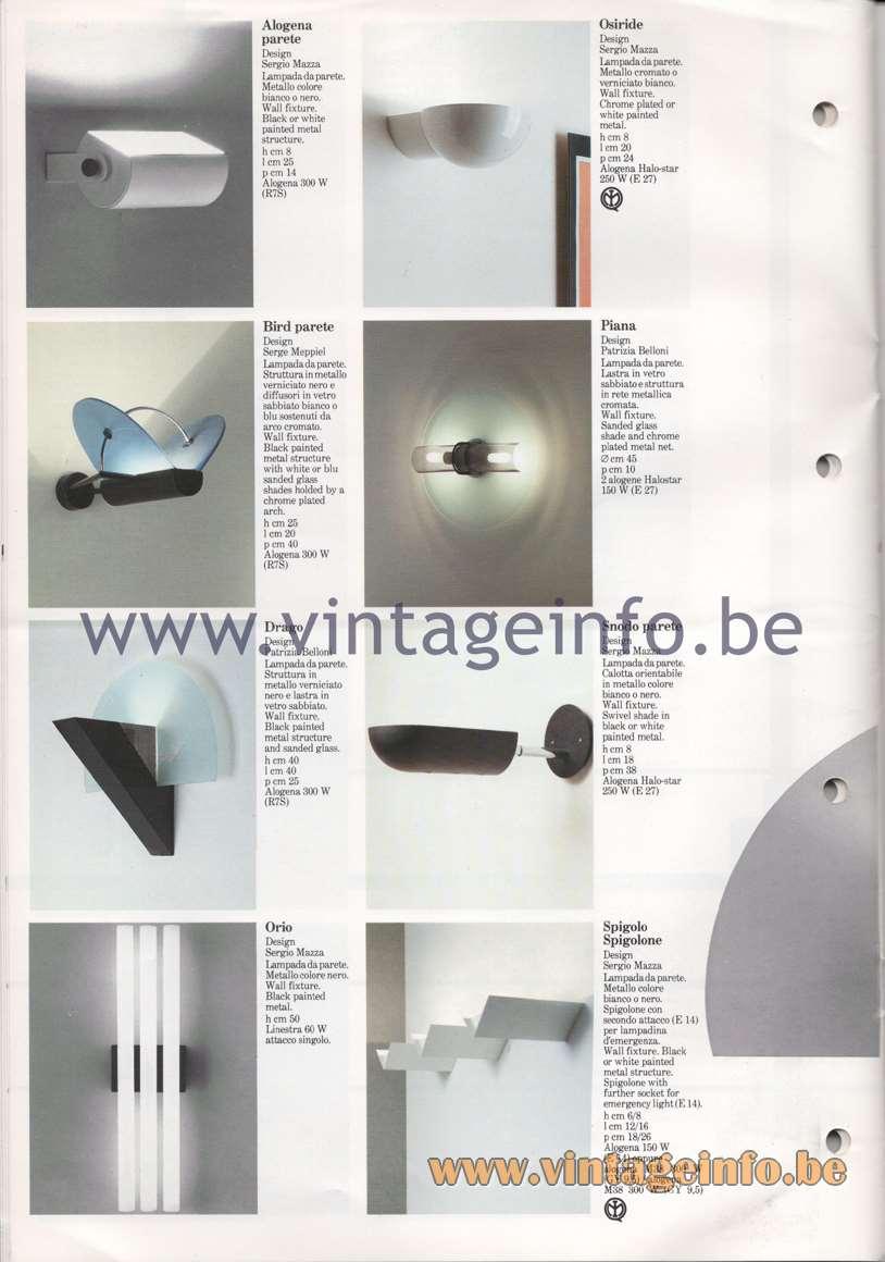 Quattrifolio Alogena parete, Osiride, Bird parete, Piana, Drago, Snodo parete, Orio Spigolo Spigolone wall lamps