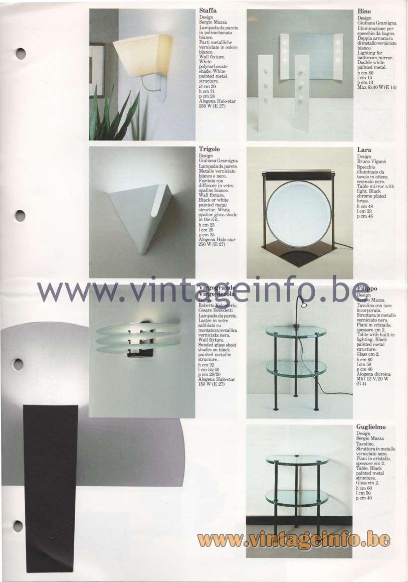 Quattrifolio Staffa, Trigolo, wall lamps, Bino lighting for bathroom mirror Filippo table Guglielmo table