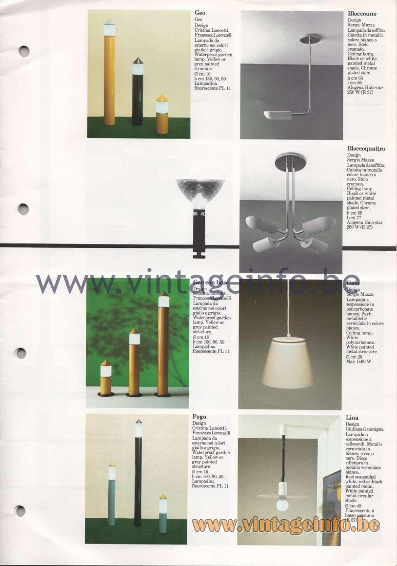 Quattrifolio Geo and Pogo garden lamp Bloccouno and Bloccoquattro ceiling lamp Gaia and Lina pendant lamp