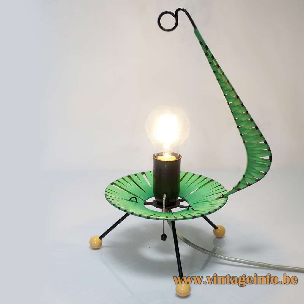 1950s Walter Viehweger table lamp tripod base green yellow nylon plastic Grünhain East Germany Rockabilly 1960s