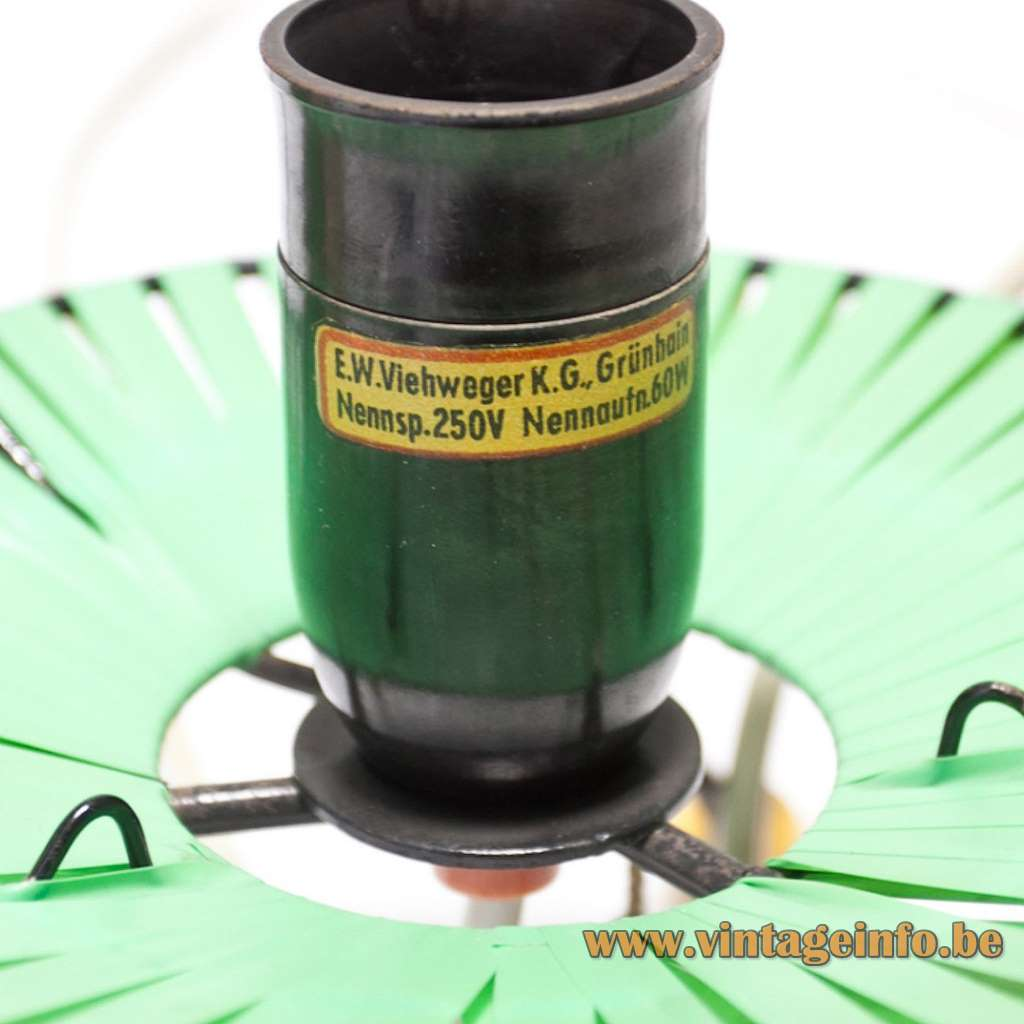 1950s Walter Viehweger table lamp tripod base green yellow nylon plastic Grünhain East Germany Rockabilly label