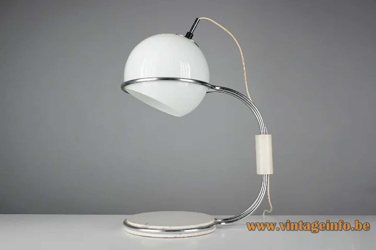 1960s Tramo globe table lamp design: Joan Antoni Blanc opal glass lampshade chrome rods Barcelona Spain