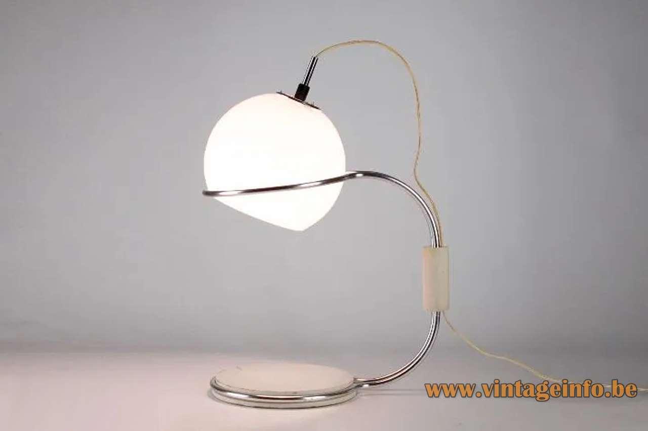 1960s Tramo globe table lamp design: Joan Antoni Blanc opal glass lampshade chrome rods Barcelona Spain