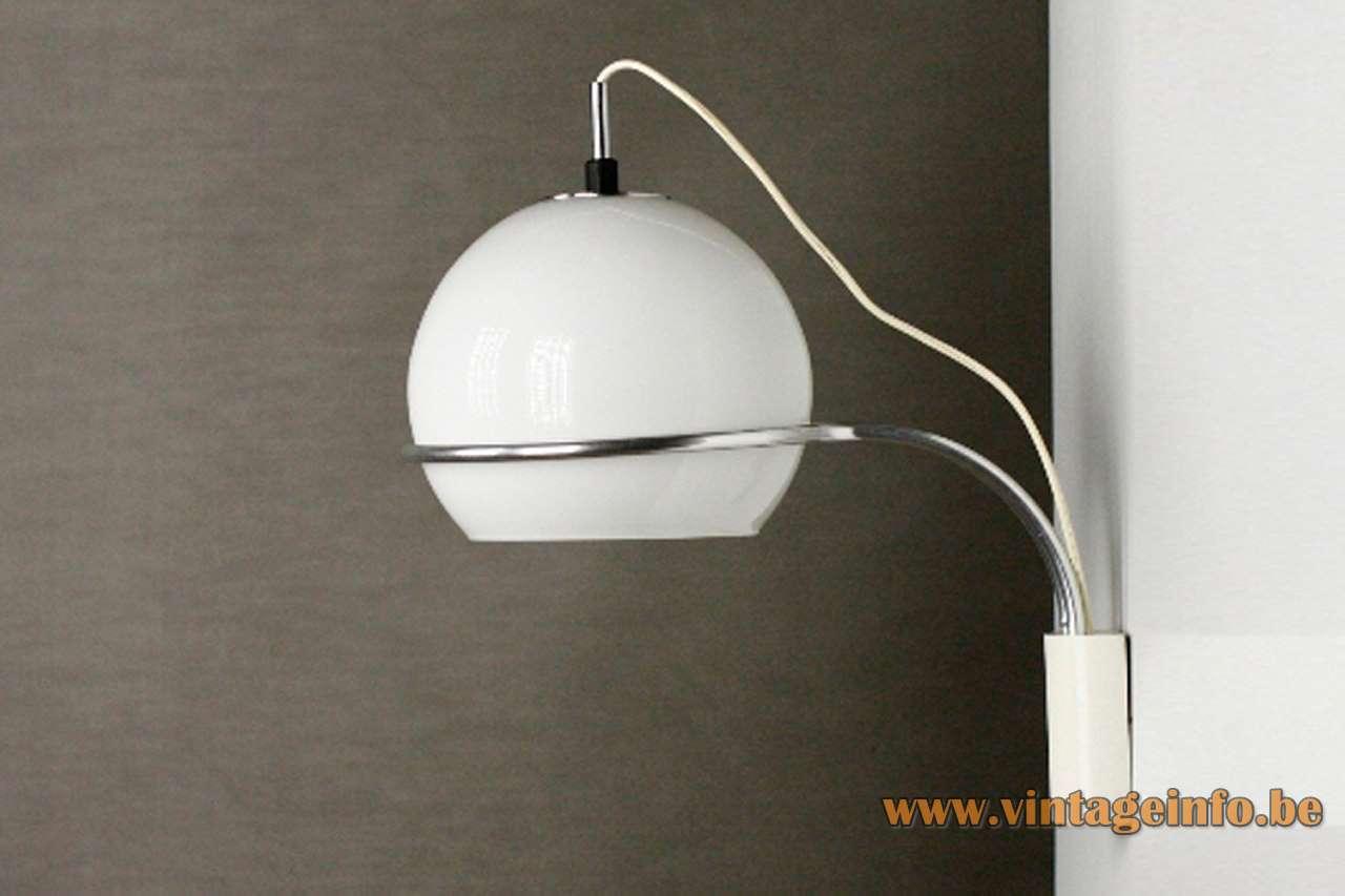1960s Tramo globe wall lamp design: Joan Antoni Blanc opal glass lampshade chrome curved rod Spain