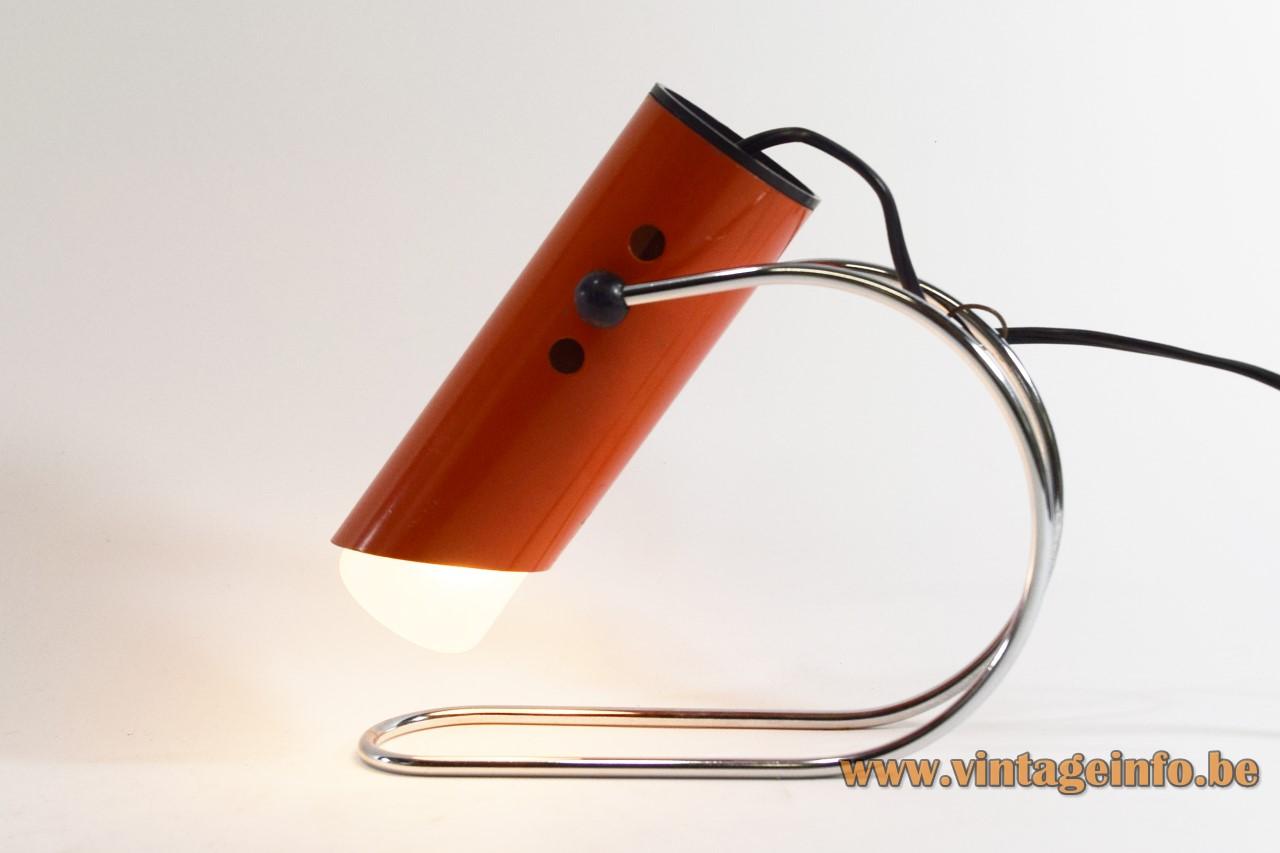 Tube table lamp chrome curved rod rubber Angelo Lelii Arredoluce Italy E14 socket 1960s 1970s MCM Mid-Century Modern