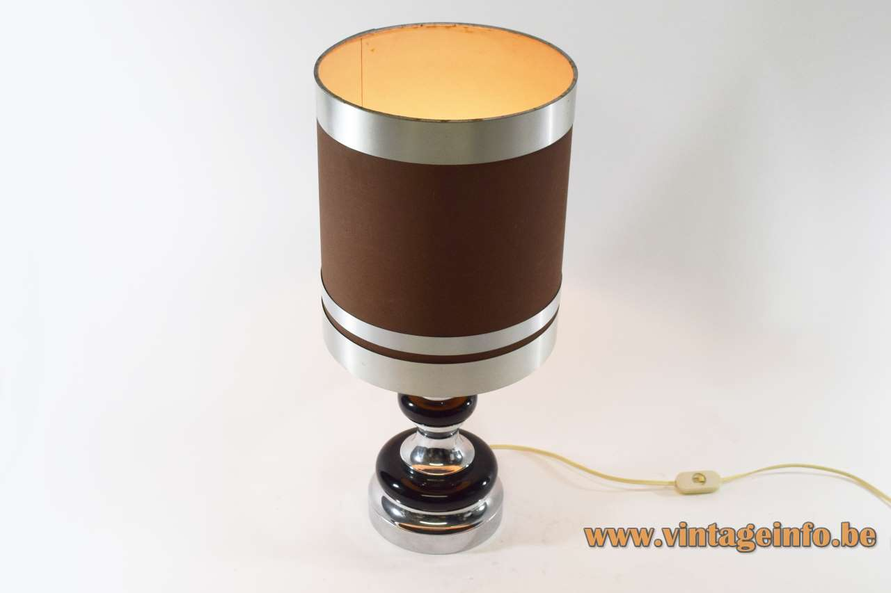 1970s table lamp chrome and black parts round light fabric lampshade E27 socket Massive Belgium MCM Mid-Century Modern
