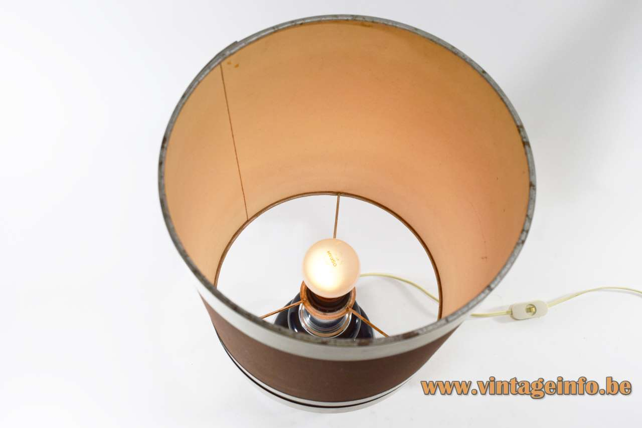 1970s chrome black table lamp round base fabric lampshade Massive Belgium E27 socket Mid-Century Modern