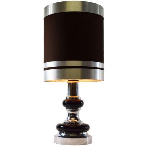 1970s chrome black table lamp round base fabric lampshade Massive Belgium E27 socket Mid-Century Modern