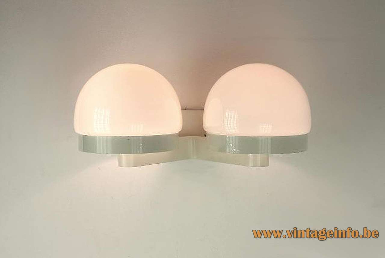 André Ricard Metalarte wall lamp 2 opal glass globes white painted metal base 1960s 1970s Spain