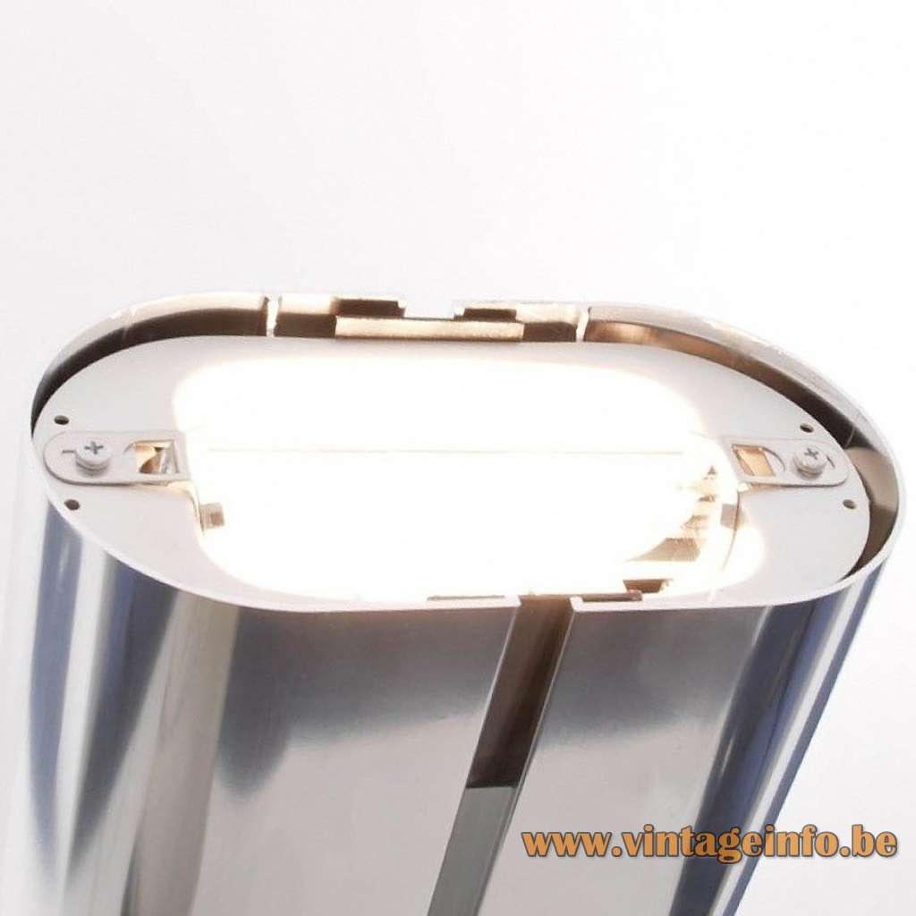 Megaron Terra floor lamp Artemide design: Gianfranco Frattini elongated rounded light 1970s MCM Mid-Century Modern