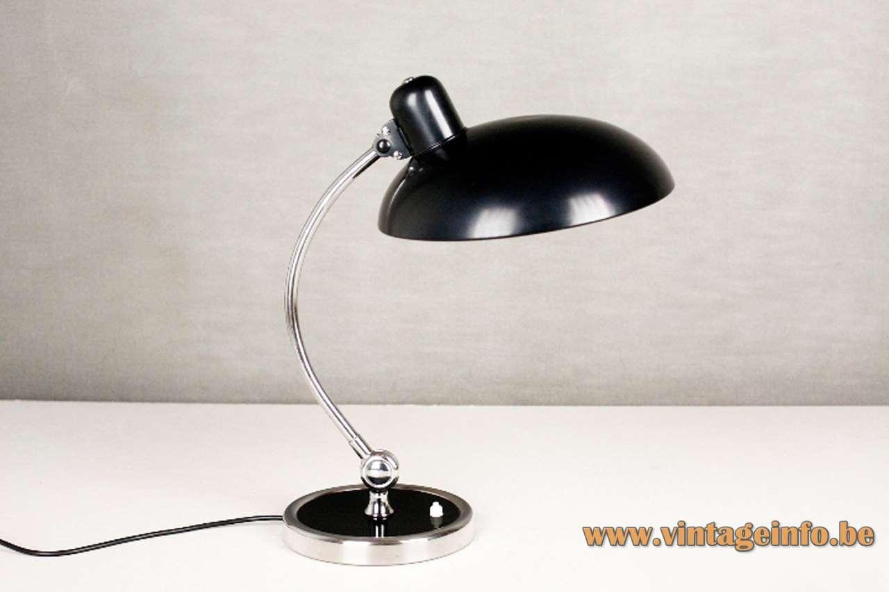 Christian Dell 6631 desk lamp Luxus chrome base & rod black lampshade Metalarte KAISER idell 1930s Bauhaus