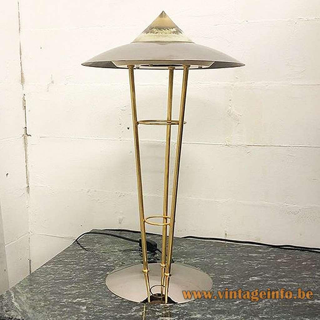 Conical 1980s Herda table lamp chrome round base 3 brass rods glass cone 1980s The Netherlands