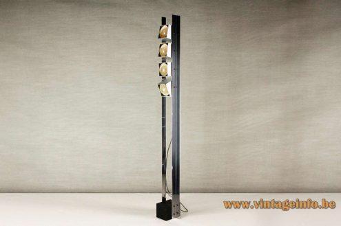 Eduardo Duque floor lamp Estudios DG Madrid Spain elongated square wrinkle paint base 4 E27 sockets 1970s MCM Mid-Century Modern
