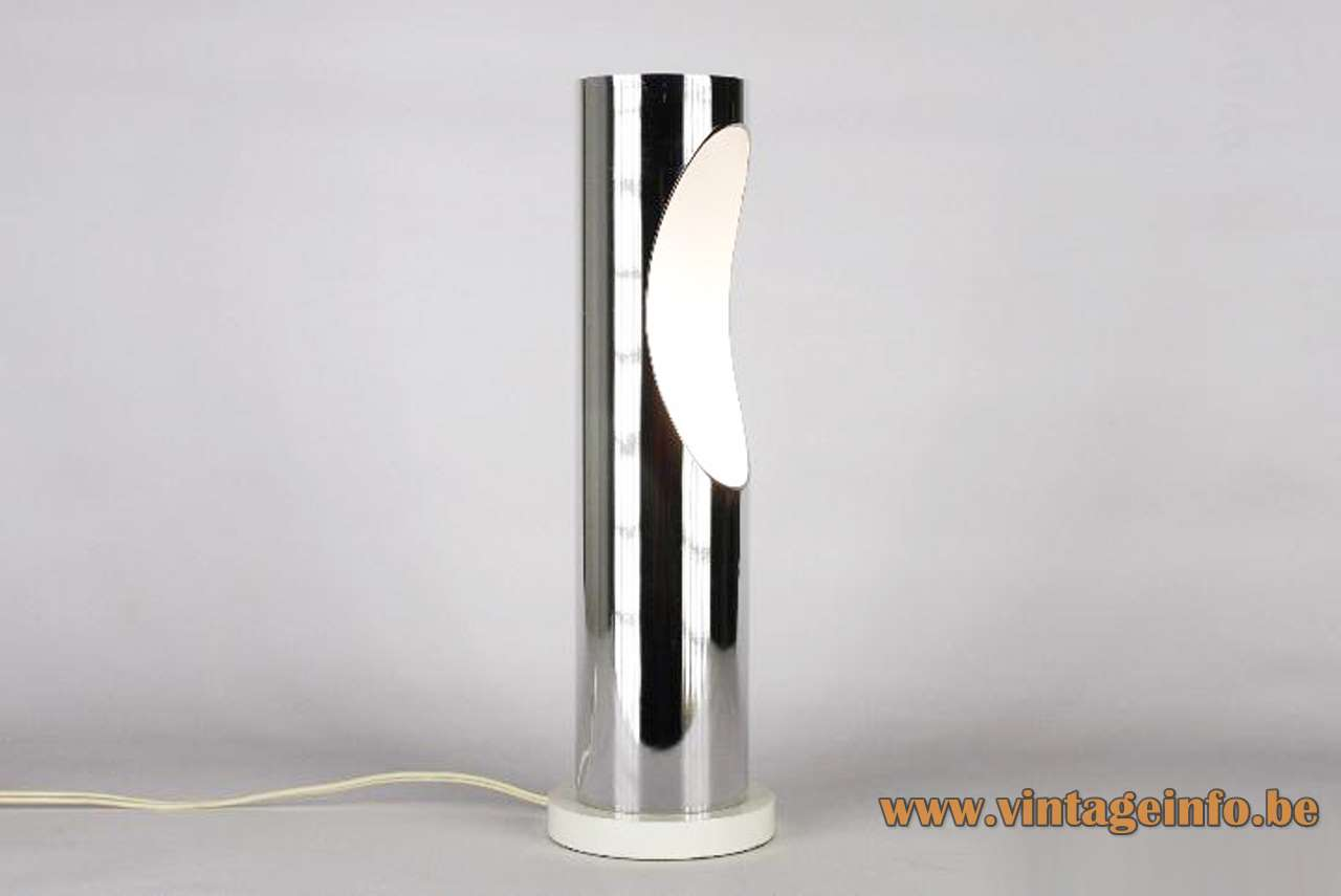 Estiluz tube table lamp round white base chrome cylinder oval hole 1970s Spain E27 socket