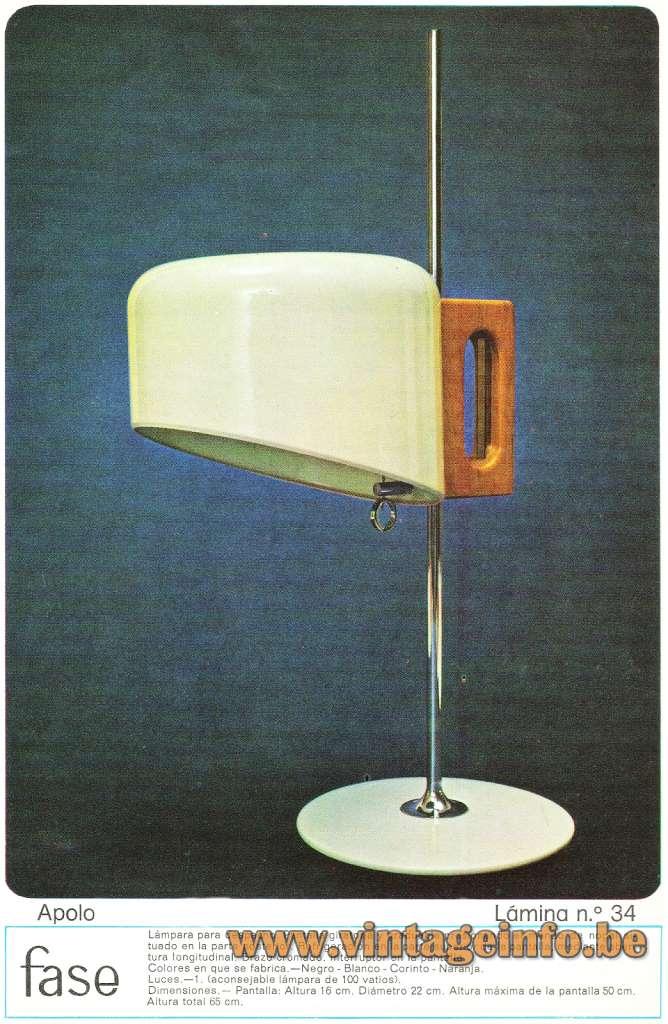 Fase desk lamp Apolo chrome rod round base & lampshade Spain Joe Colombo 1960 1970s MCM Mid-Century Modern