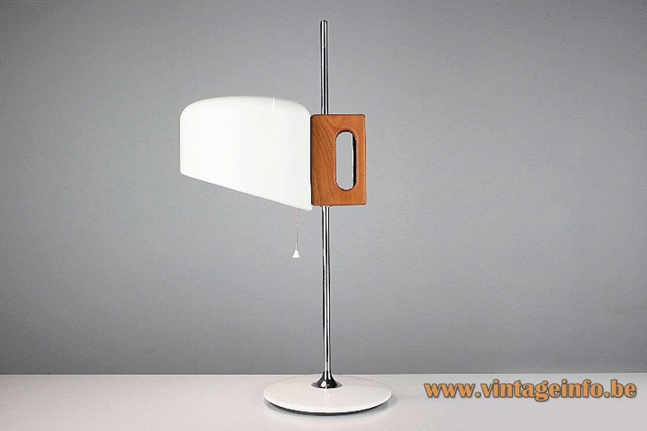 Fase Apolo desk lamp white round base & lampshade chrome rod wood handle Joe Colombo 1970s Spain