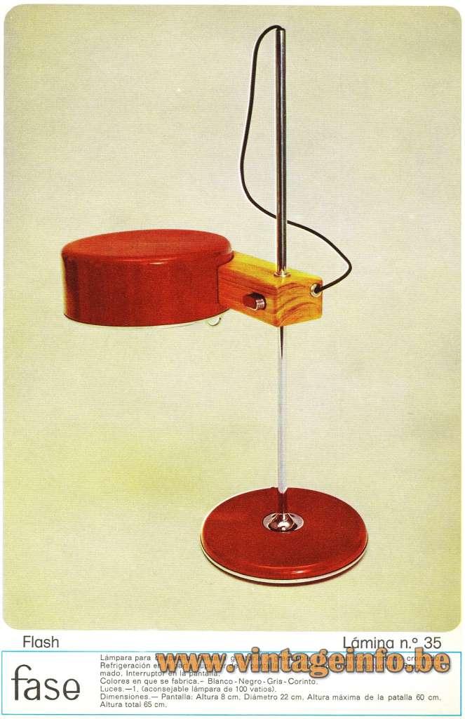 ase desk lamp Flash chrome rod round base & lampshade Spain Joe Colombo 1960 1970s MCM Mid-Century Modern