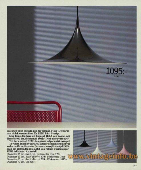 Fog & Mørup Semi Pendant Lamp - 1986 IKEA Catalogue Picture