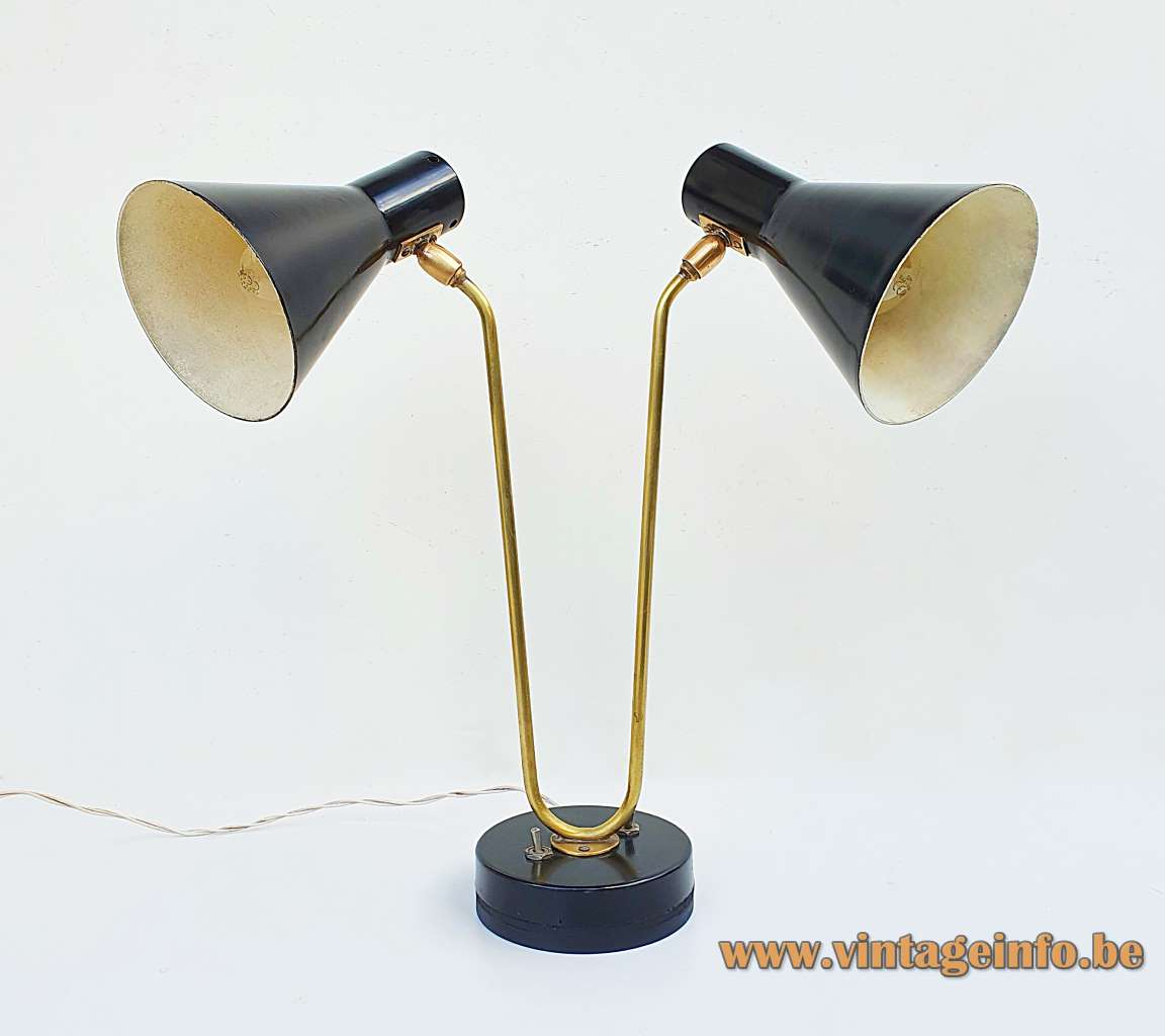 Gerald Thurston double desk lamp Lightolier 2 black lampshades & base curved folded brass rod 1950s 1960s