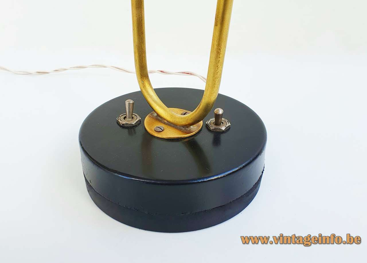 Gerald Thurston double desk lamp round black base with 2 toggle switches 1950s 1960s Lightolier USA