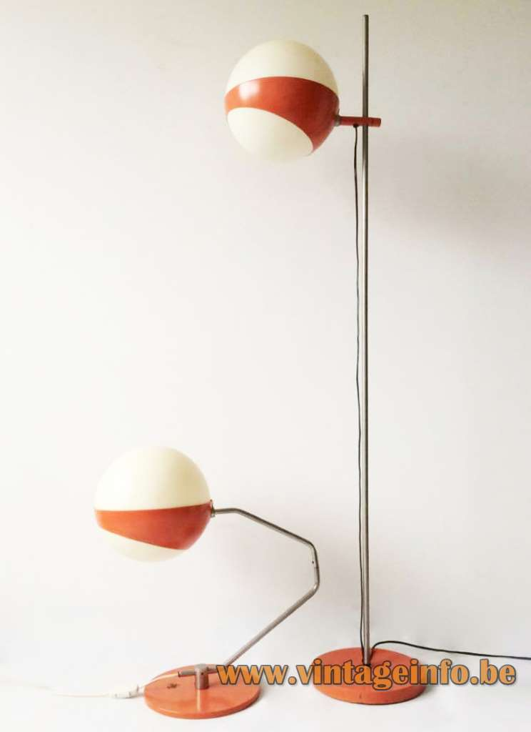 Hala globe floor lamp 660 and globe table lamp 1960 1970s MCM Mid-Century Modern The Netherlands