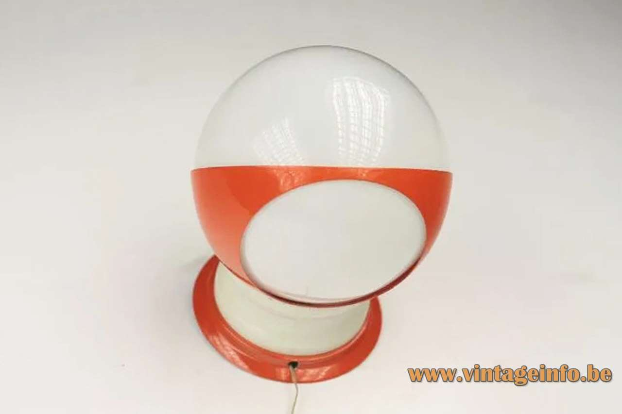 Hala globe wall lamp white plastic acrylic lampshade orange metal 1960 1970s The Netherlands E14 socket
