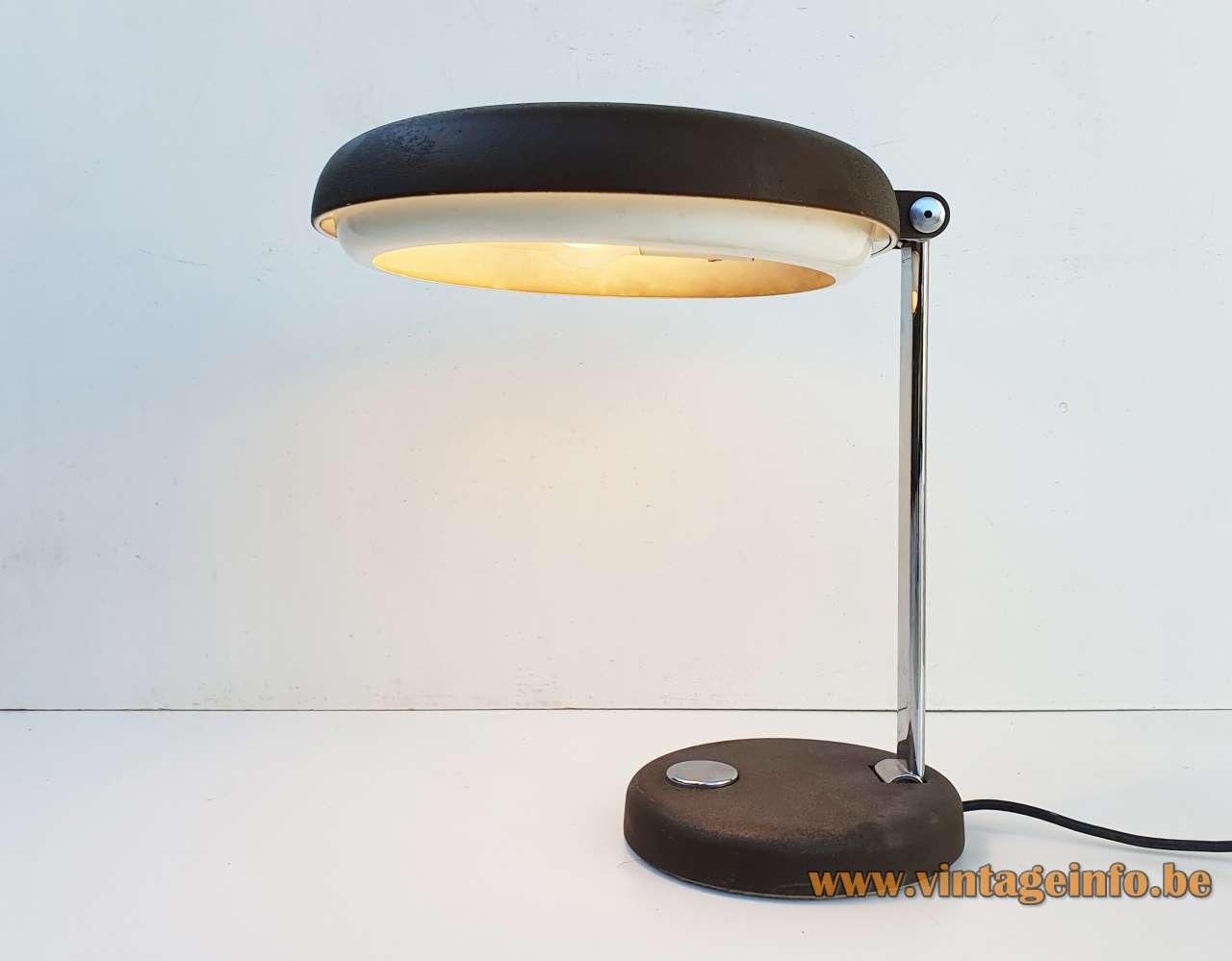 Hillebrand desk lamp Heinz Georg Pfaender chrome black metal Germany 1970s 2 E27 sockets MCM Mid-Century Modern